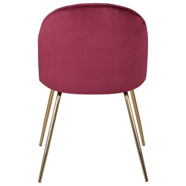 chaise en velours matelassée bordeaux