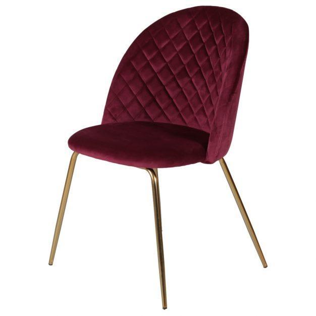 chaise en velours losange bordeaux