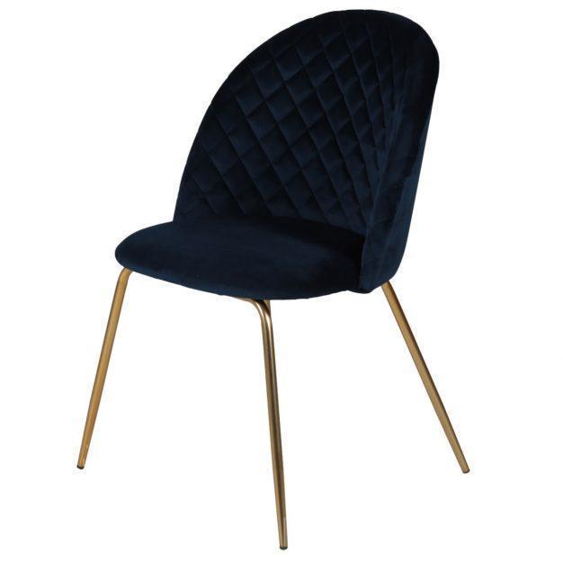 chaise avec pieds doré en velours matelassé bleu