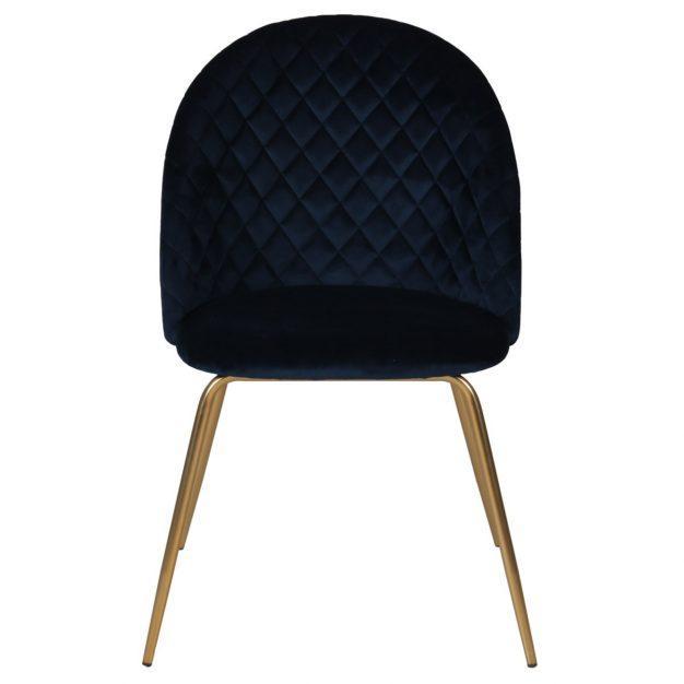 chaise en velours losange oscar bleu matelassée