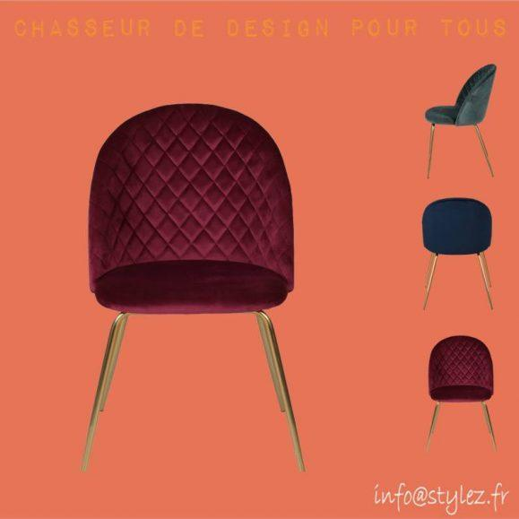 chaise en velours losange en couleurs