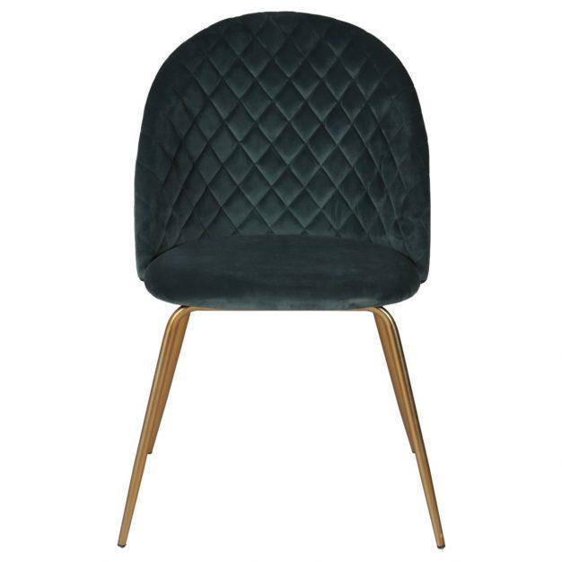 chaise velours matelassée et pieds en métal doré oscar