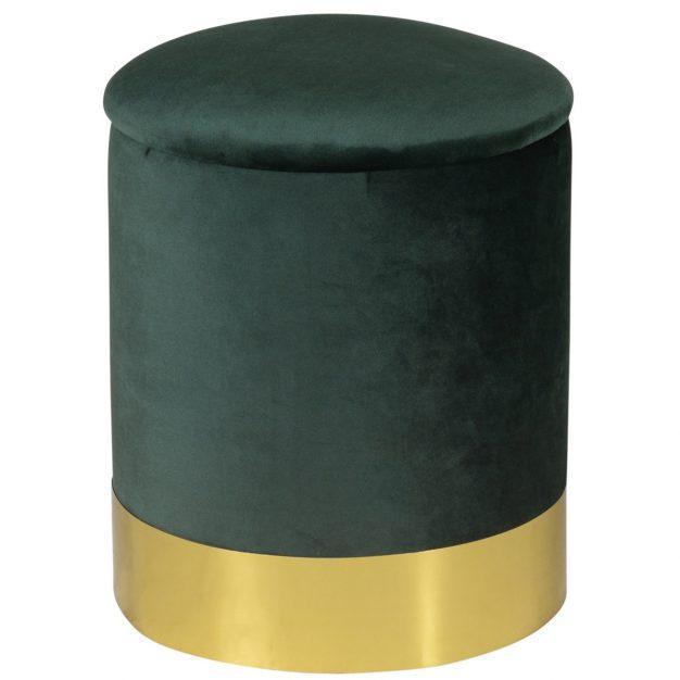 pouf queen en velours vert