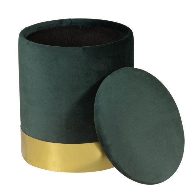 pouf rangement en velours vert avec contour doré