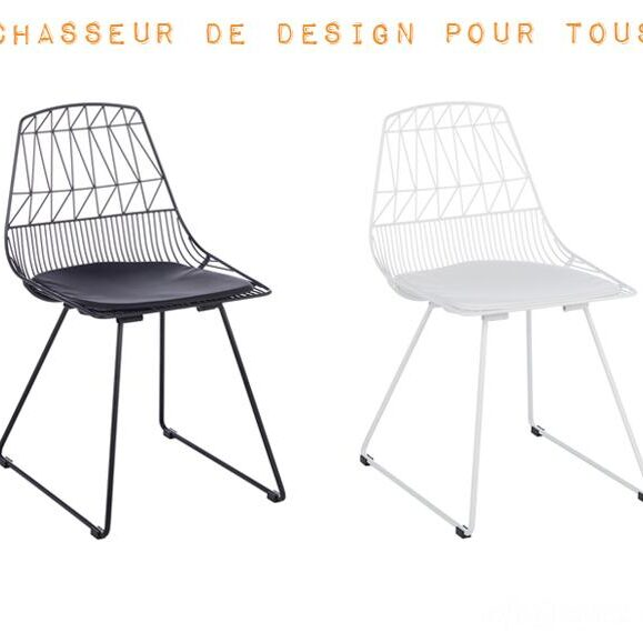chaise design noir blanche confortable