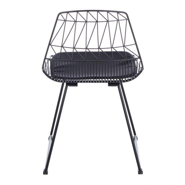 chaise motif design noir mate
