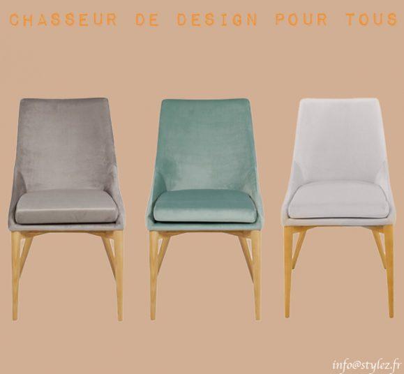 chaise design pieds bois velours