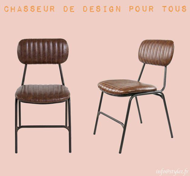Chaise vintage rembourrée en simili cuir plusieurs teintes