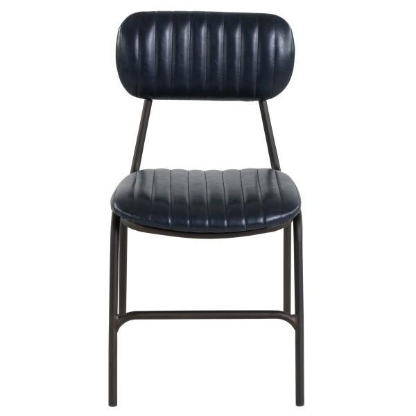 chaise année 50 simili bleu