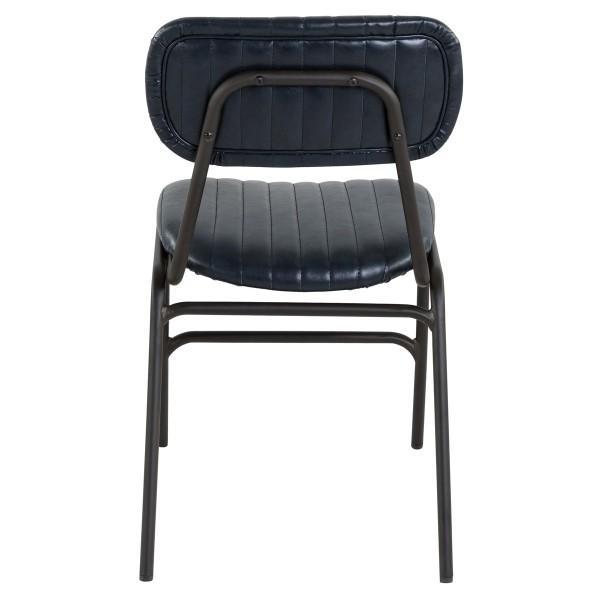 chaise simili cuir bleu haute qualité
