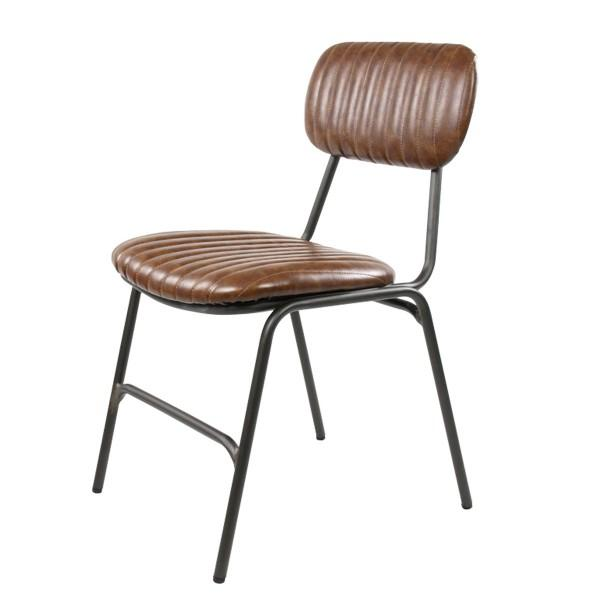 chaise vintage design simili marron