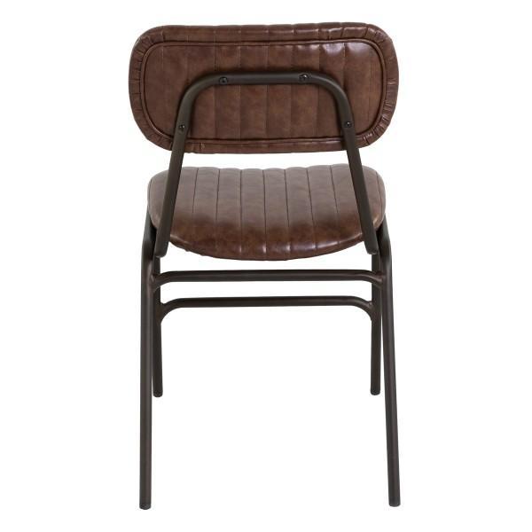 chaise écolier cuir vintage rembourrée