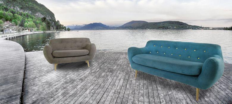 fauteuils bleu gris