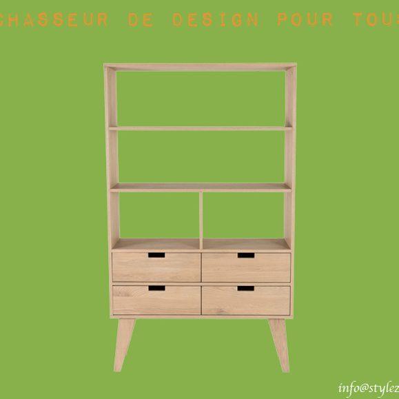 meuble 3 étagères et tirroirs