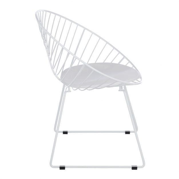 chaise rayé assise rembourrée blanche