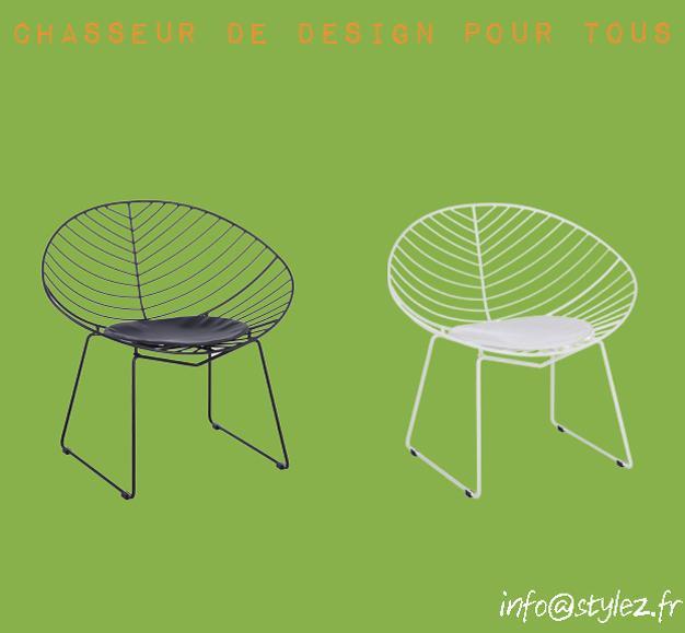 fauteuil leaven noir et blanc