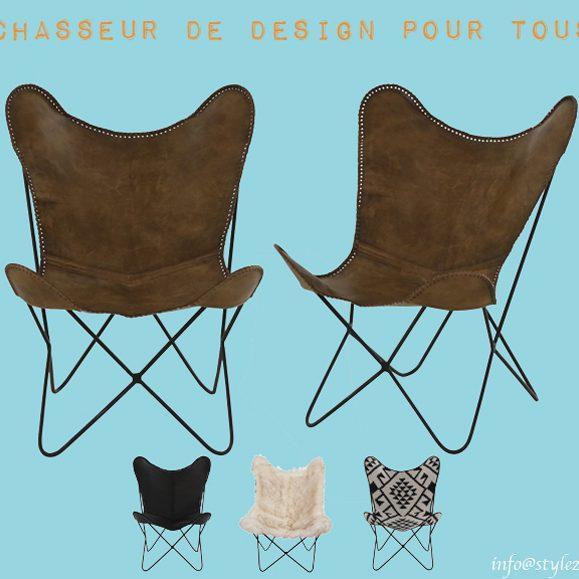 fauteuil en cuir batterfly