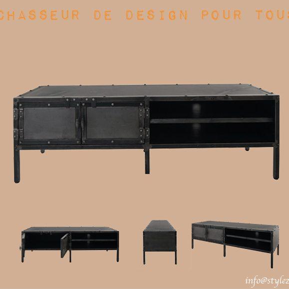 meuble bas télévision vintage noir