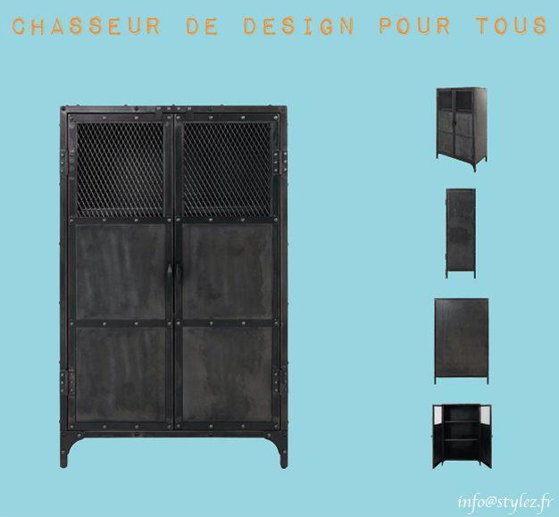 Meuble armoire industrielle en métal brut vieille