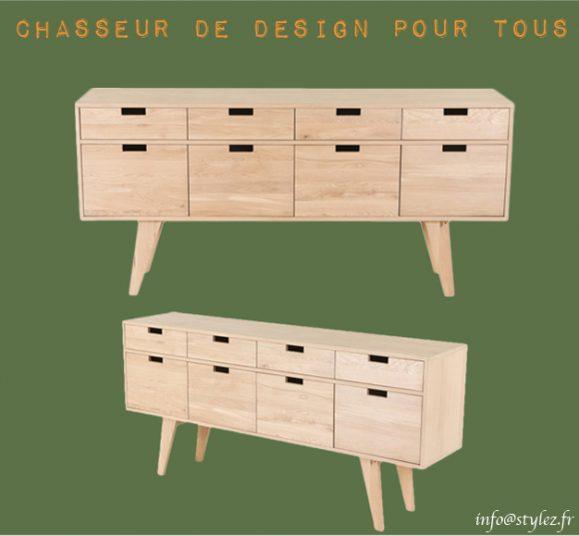 meuble bas pratique tiroirs bois