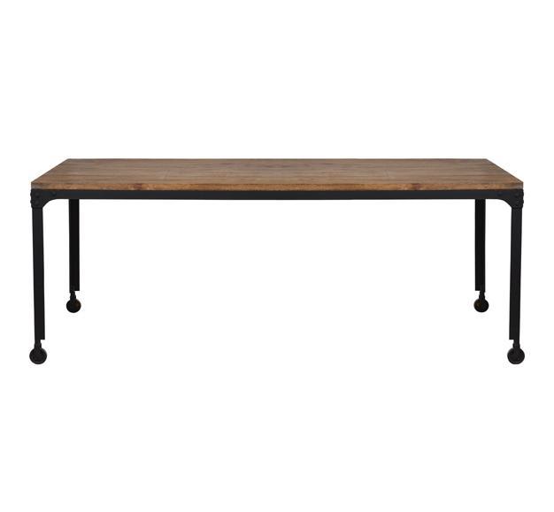 table plateau bois pieds roulettes
