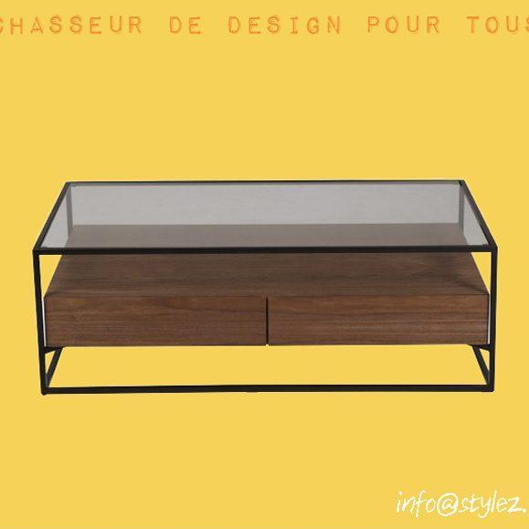table basse en noyeret verre