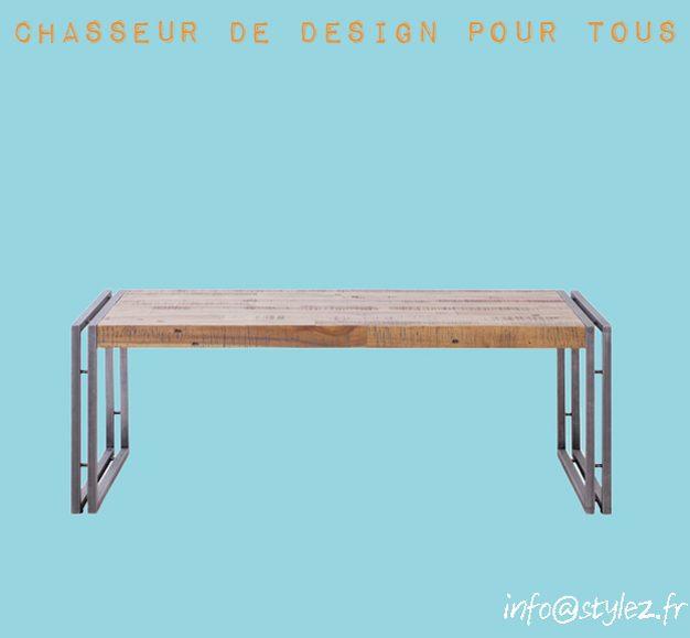 Table basse industrielle cerclée métal 110cm