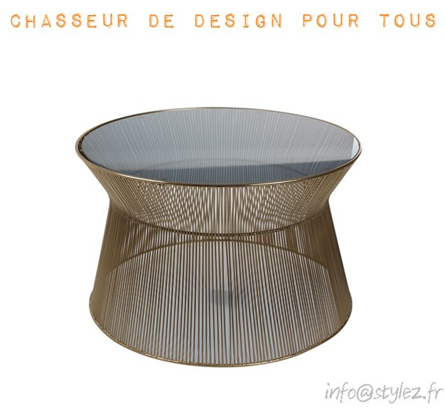 Table basse verre et or