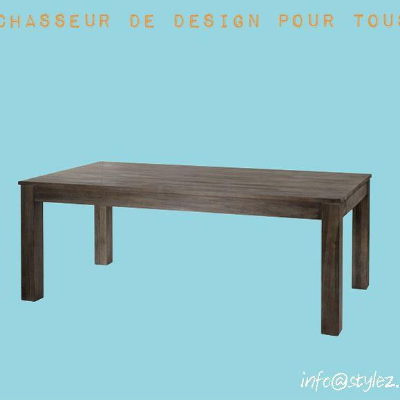 table teck marron gris vintage