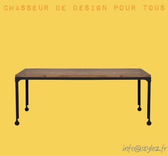 table à roulettes vintage bois