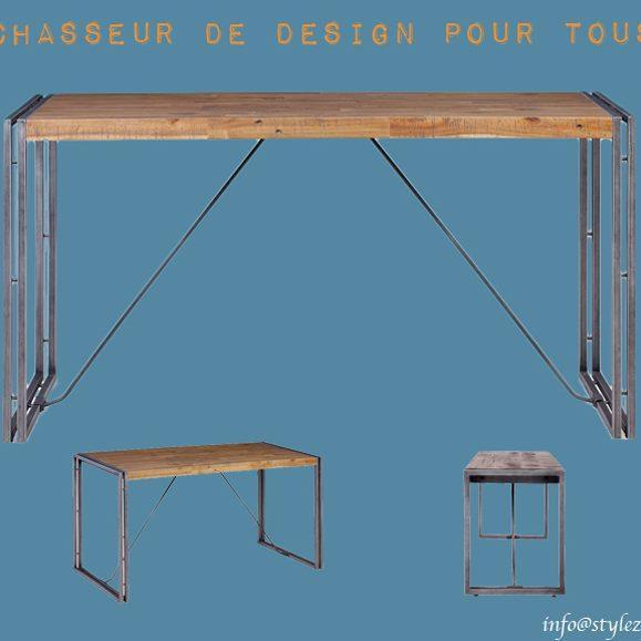 table atelier industrielle bois métal