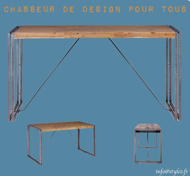 Table industrielle en bois 140cm avec double cerclage métal