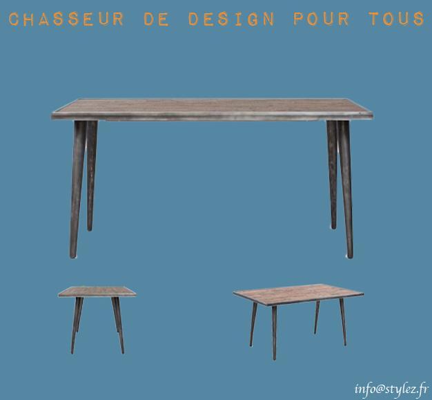 table originale industrielle bois métal