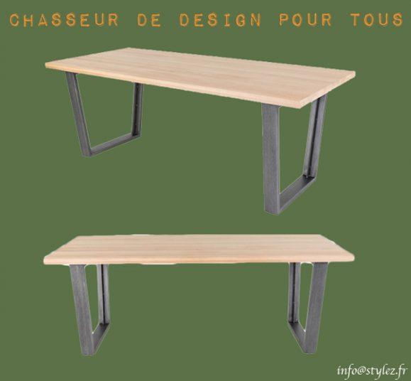 table moderne plateau bois métal