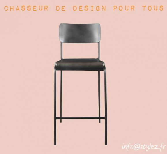 chaise haute écolière métal gris