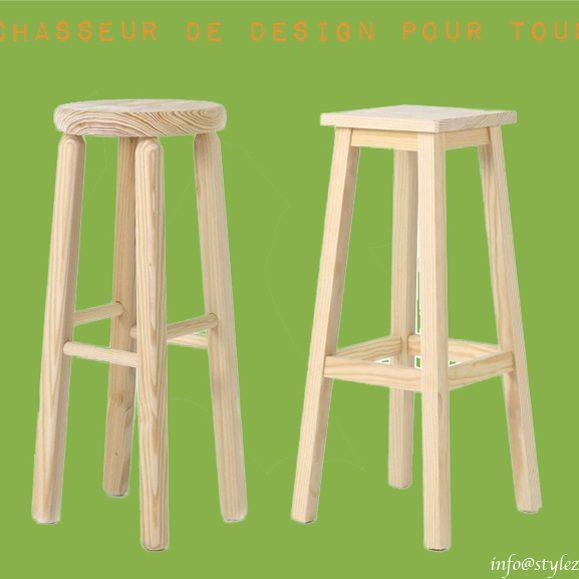 tabouret haut bois naturel clair