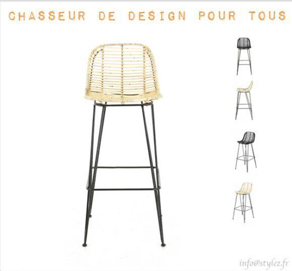 chaise haute rotin naturel tendance