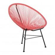 fauteuil chaise rouge corail acapulco