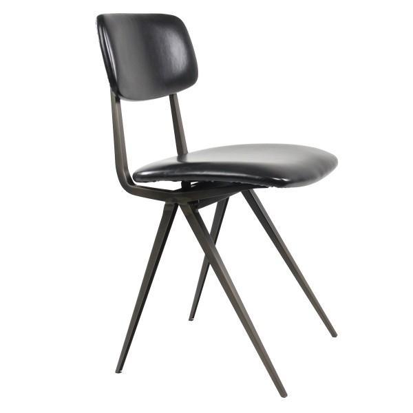 chaise rembourrée noir vintage industrielle