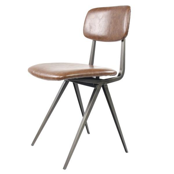 chaise rembourrée vintage marron noir