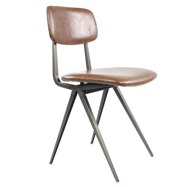 chaise design cuir marron vintage