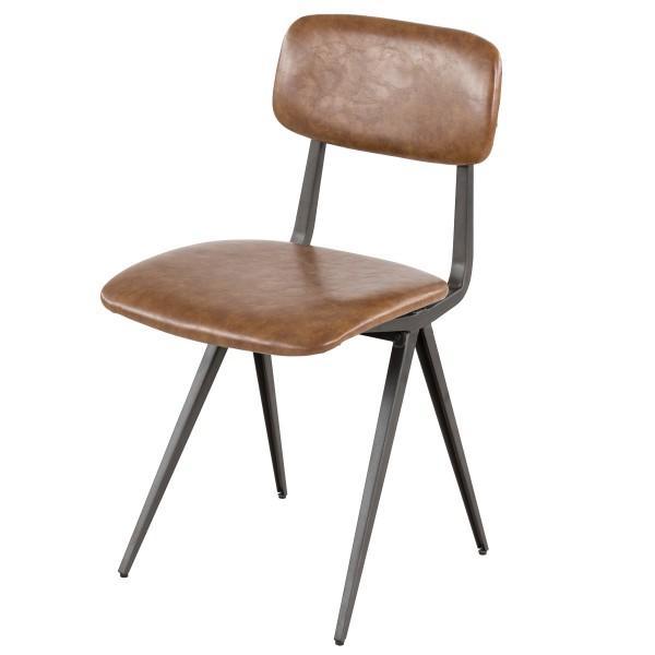 chaise armature acier noir marron