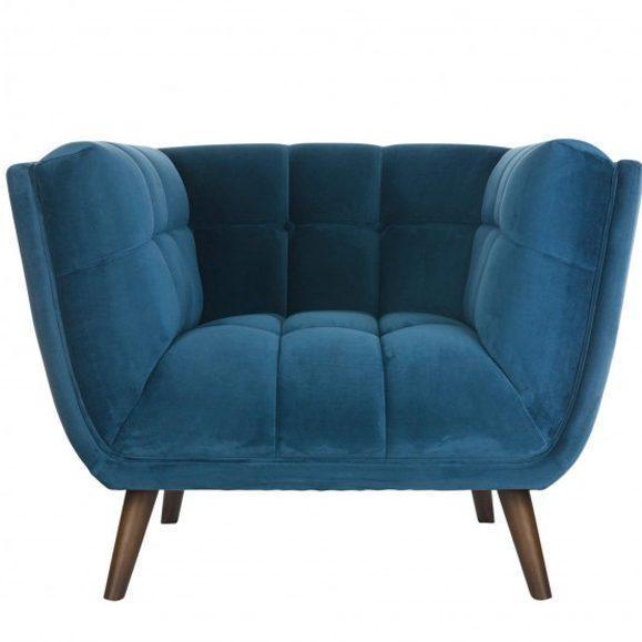 fauteuil piqué velours design bleu