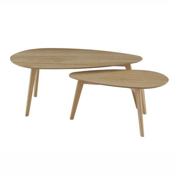 table basse double salon bois