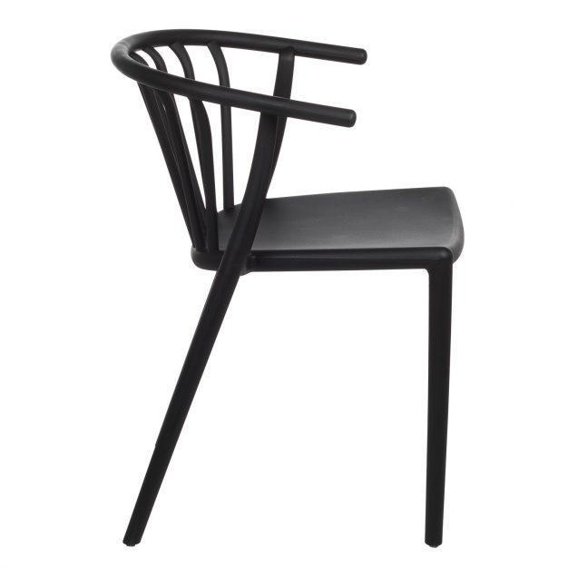 chaise dossier accoudoirs noir