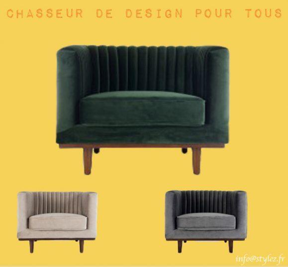 fauteuil velours vintage design couleurs