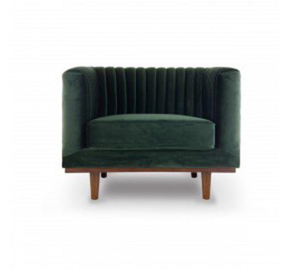 fauteuil vert sapin velours matelassé