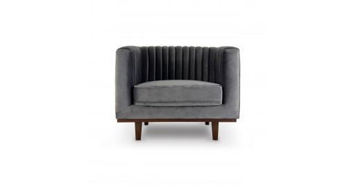 fauteuil design velours gris matelassé