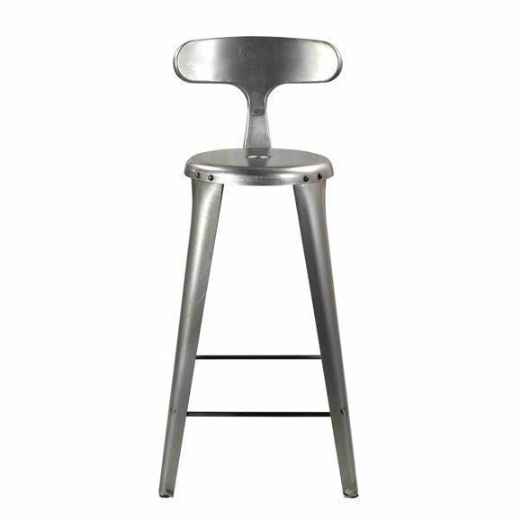 chaise hauteur gris métallique lisse
