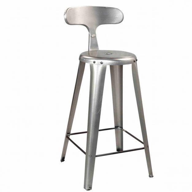 chaise métal mate hauteur grisé